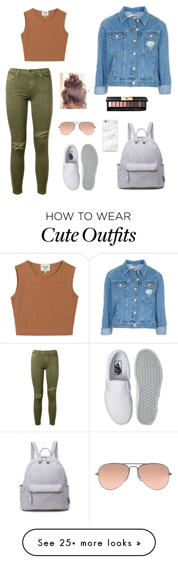 School outfits by fadeintofashion-1 on Polyvore featuring Current/Elliott, Samuji, Topshop, Vans, Ray-Ban and Yves Saint Laurent