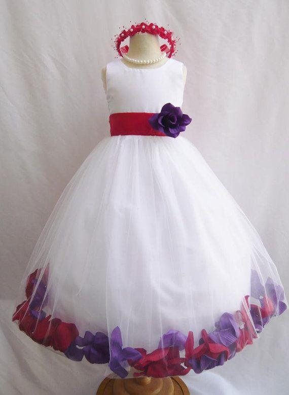 CUSTOM COLOR   Flower Girl Rose Petal Dress WHITE  Red Purple