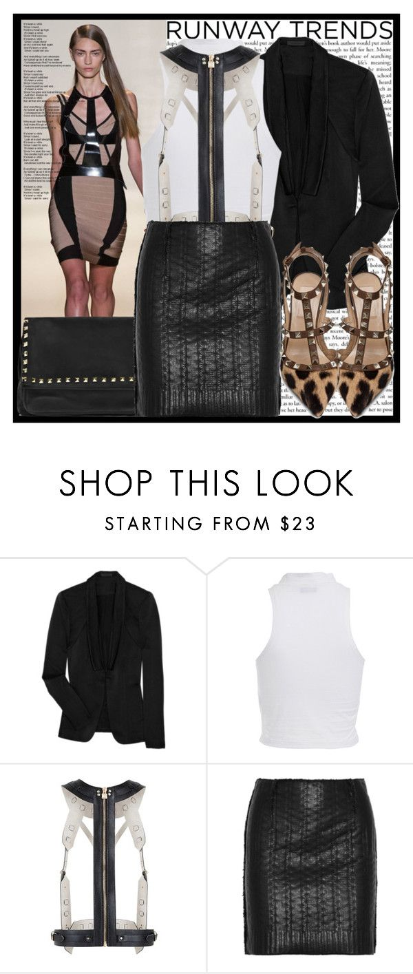 """NYFW Runway to Realway"" by vanessanataly ❤ liked on Polyvore featuring Hervé Léger, Alexander Wang, Bardot, BCBGMAXAZRIA, Lanvin, Valentino, leather skirts, animal print, harness and racer front tops"