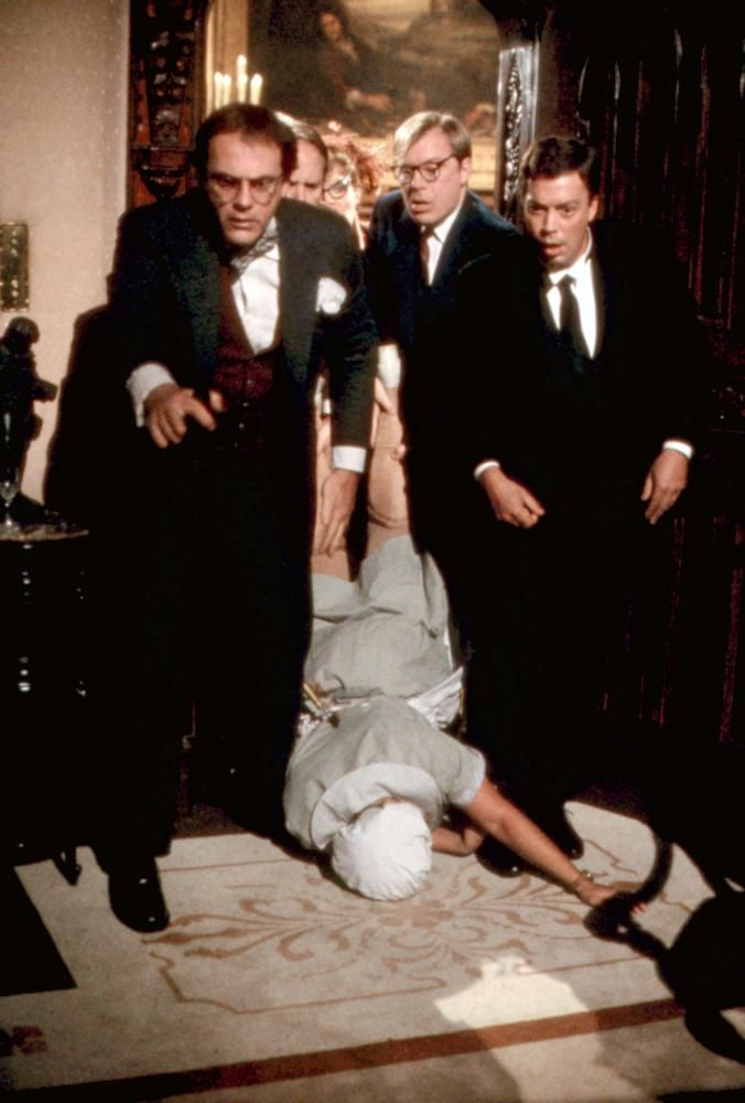 CLUE, Chirstopher Lloyd, Michael McKean, Tim Curry, 1985  | Essential Film Stars, Tim Curry http://gay-themed-films.com/essential-film-stars-tim-curry/