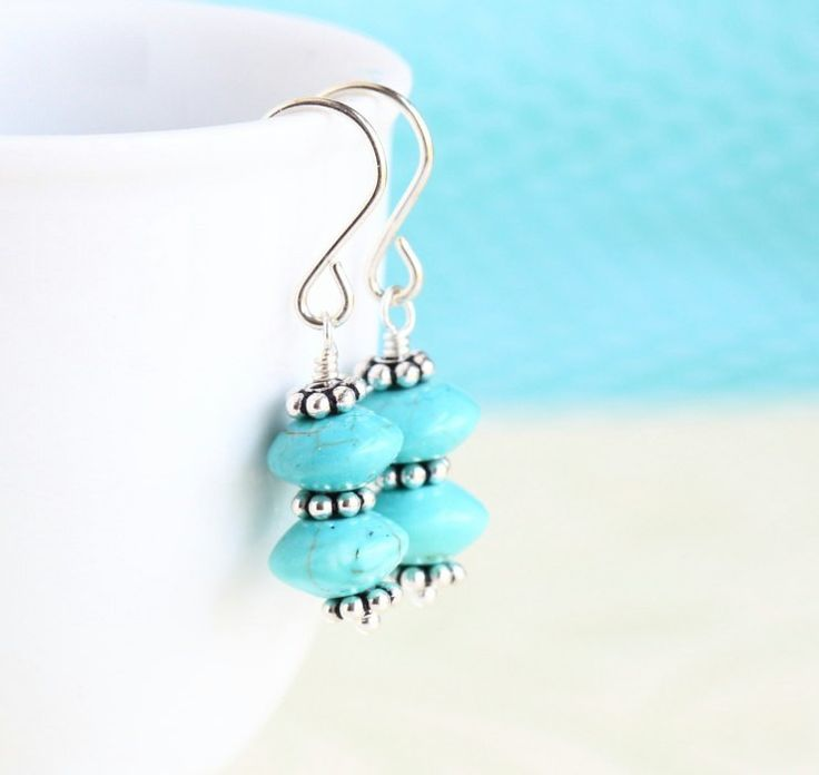 Turquoise and Sterling Silver Earrings on framestr.com