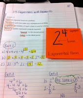 Coffee Cups and Lesson Plans: Math Notebooks: Exponents Foldable and Math Language