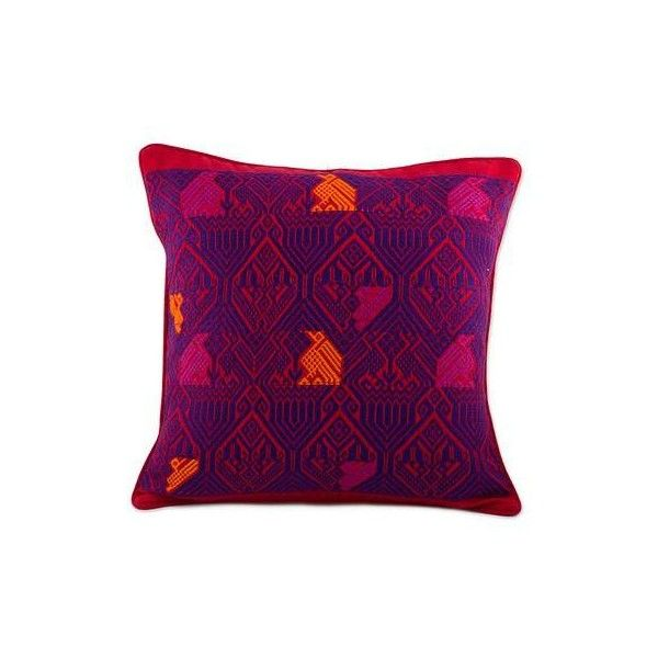 NOVICA Handwoven Maya Backstrap Loom Red and Purple Cushion Cover ($60) ❤ liked on Polyvore featuring home, home decor, throw pillows, cushion covers, pillows & throws, purple, fabric home decor, red accent pillows, bird throw pillows and red home decor