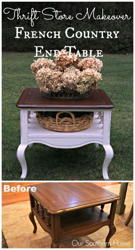 French Country thrift store end table makeover by Our Southern Home using Americana Decor Chalky Finish Paints and Minwax PolyShades.: