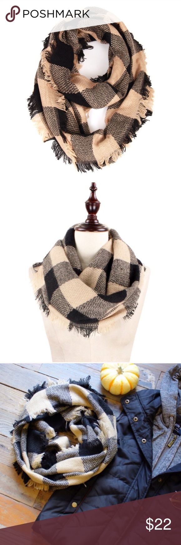 Black & Beige Checker Plaid Fringe Infinity Scarf Brand new. Soft. Infinity. 100% acrylic. Boutique Accessories Scarves & Wraps
