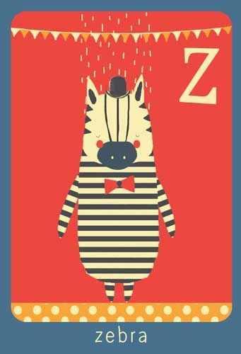 Alfabet print - Z - Zebra - Pimpelpluis - https://www.facebook.com/pages/Pimpelpluis/188675421305550?ref=hl - (nursery print illustration kids children art poster dieren kinderen cute illustratie animal alphabet zebra) abc cards
