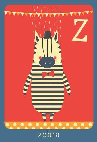Alfabet print - Z - Zebra - Pimpelpluis - https://www.facebook.com/pages/Pimpelpluis/188675421305550?ref=hl - (nursery print illustration kids children art poster dieren kinderen cute illustratie animal alphabet zebra) abc cards