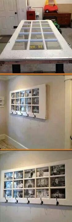 Old door turned photo frame.