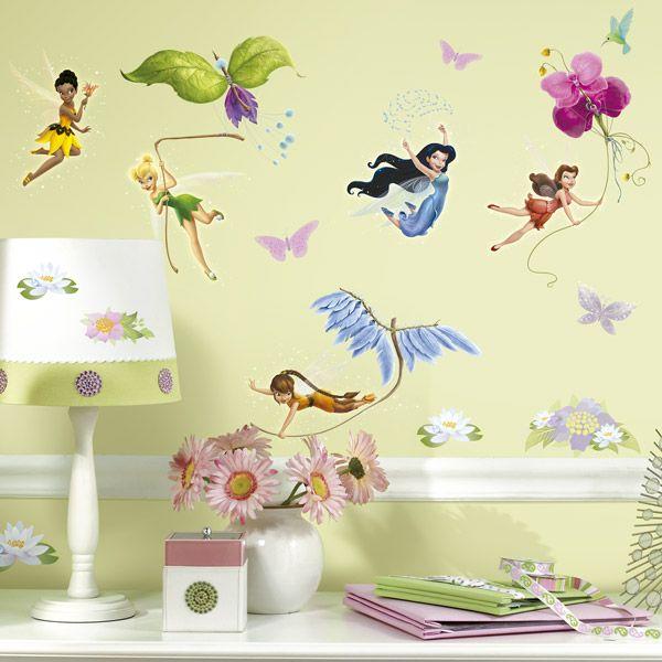 Stunning Adesivi per bambini vinili fata Disney Brillantina Adesivi murali bambini a kit