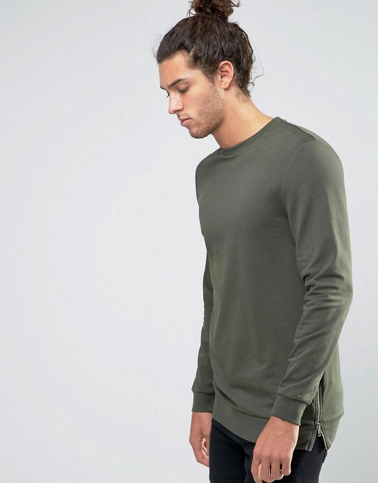 Longline Muscle Sweatshirt With Side Zips In Khaki