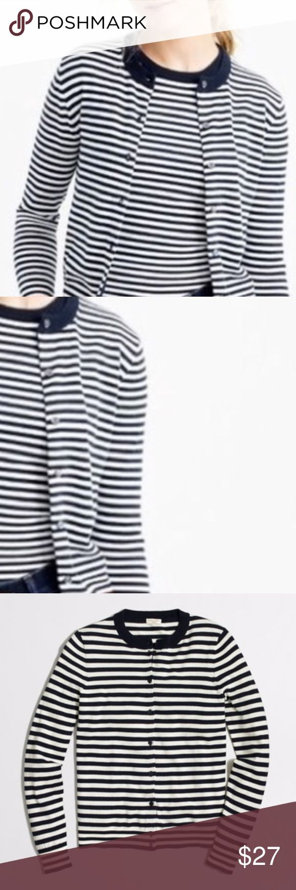 J. Crew The Caryn Cardigan Striped Nautical Cardigan  100% Cotton  EUC- Worn ONCE!  No Flaws!  Buttons all perfectly in tact! :)  True to Size  *IMO- The Stripes are NAVY and CREAM Others may say it's black and white....Again, to me, pictures 1 and 2 best reflect color so I'm going to list the colors as blue and cream :). J. Crew Sweaters Cardigans