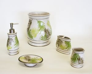 Sago Palm Bathroom Accessory Set. Sherry Kline Sago Palm Bathroom Accessory Set Add an elegant spark to your bathroom with a Sherry Kline bath accessory set. Complete the look of your bathroom with this five-piece bath accessory set from Sherry Kline. The bath accessory set is made of ceramic with an accent of the hand painted print of a tropical sago palm leaves pattern in colors green and taupe. FEATURES: Set includes: 1 Soap dish, 1 toothbrush holder, 1 lotion …