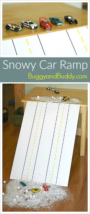 Snowy Ramp Car Play: Bring the snow inside! (Perfect activity for a rainy or snowy day) ~ BuggyandBuddy.com