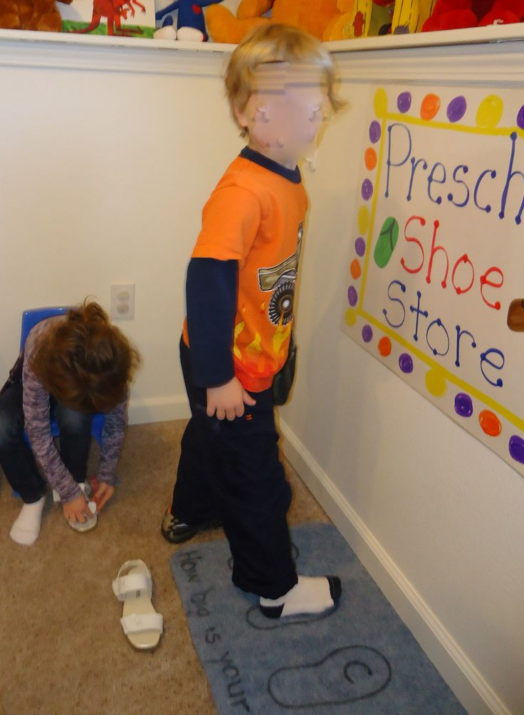 Can combine math and dramatic play by measure feet/shoes.  Preschool shoe store - measuring feet