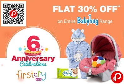 Firstcry 6th anniversary #celebration is offering Flat 30% off on Entire #Babyhug Range. Appreal, Babyhug collection, Not valid on Infant and combos.   http://www.paisebachaoindia.com/entire-babyhug-range-flat-30-off-firstcry/