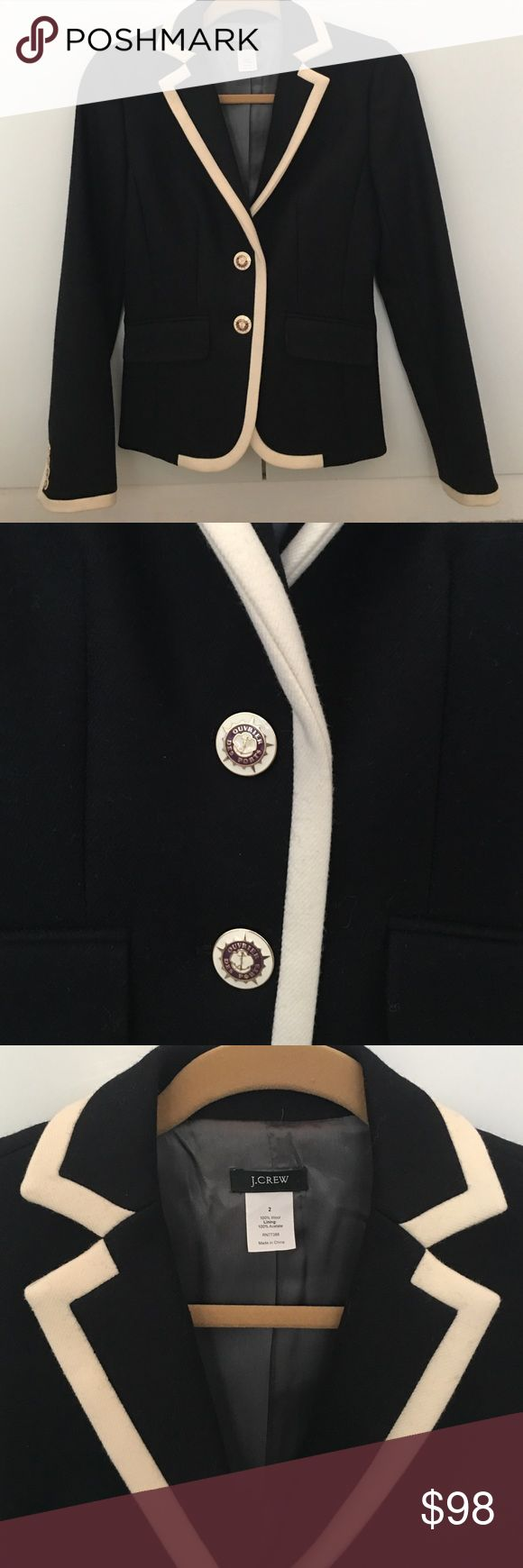 Gorgeous J. Crew Lexington Blazer size 2 Beautiful thick wool blazer with ivory tipping.  Gorgeous enamel buttons.  Fully lined.  Perfect condition, like new, flawless.  Rare and beautiful from 2007 when J. Crew quality was so awesome! J. Crew Jackets & Coats Blazers
