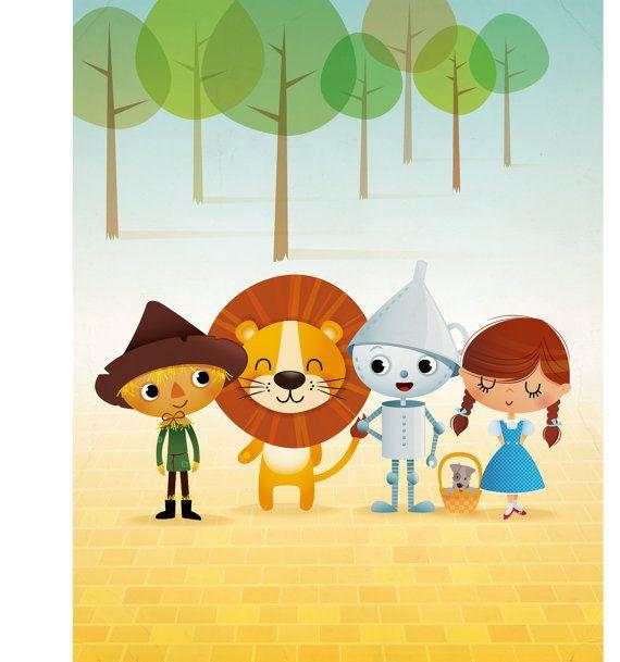 Mago de Oz arte grabado Ilustración kids sala por IreneGoughPrints