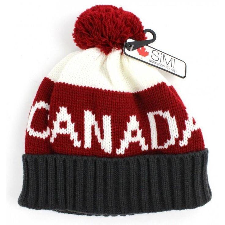 Unisex Adult Red White Gray Canada Pom Pom Toque Winter Hat Ski Hat New NWT #Simi #WinterSkiHatToque