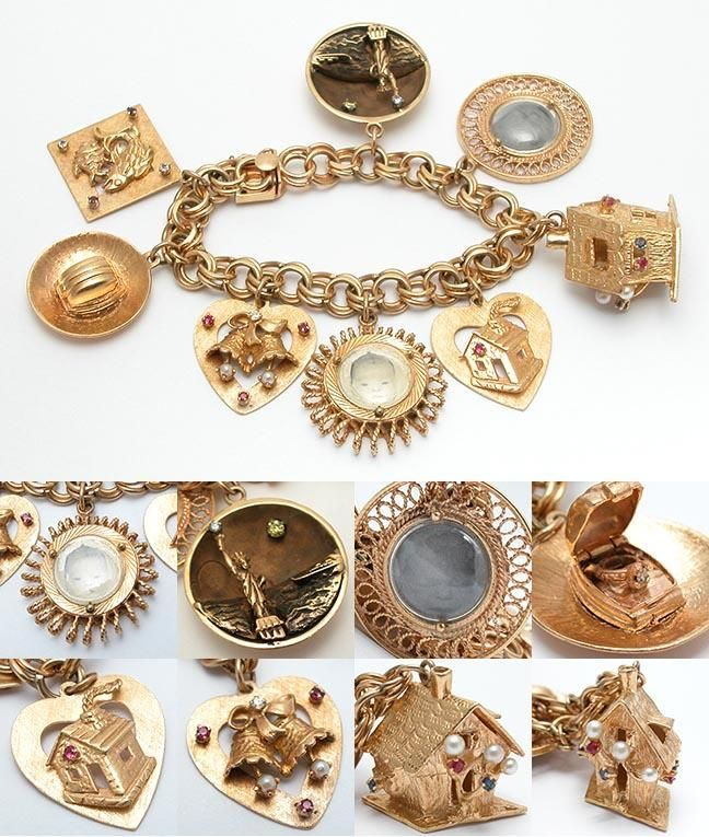 1960's gold charm bracelet....good grief! this is sooo beautiful.