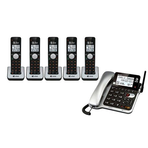 AT&T CL84502 Corded Telephone + 5 Additional Handheld Telephones and Chargers Top Office Shop