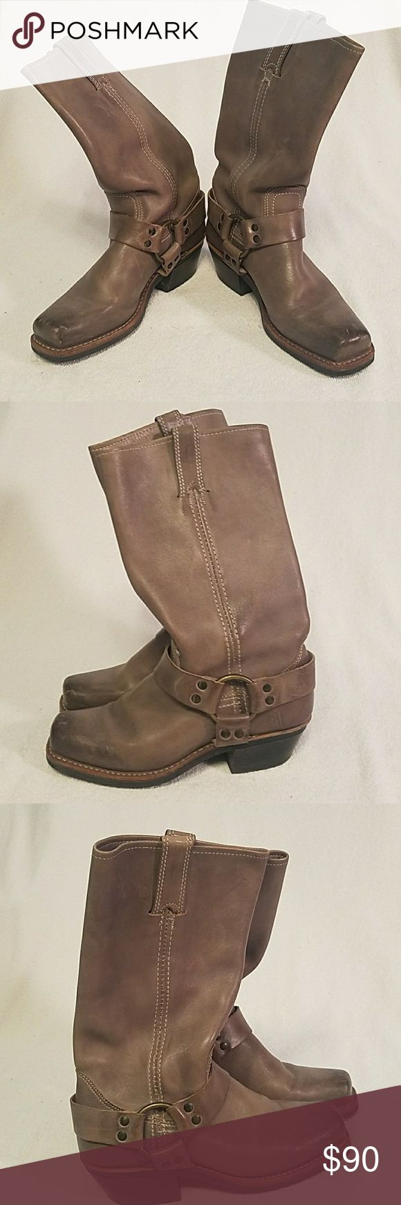 Frye harness boots Harness boots have distressed look in toe area it's a taupe color. Barely used very nice boots 5.5. Frye Shoes Combat & Moto Boots