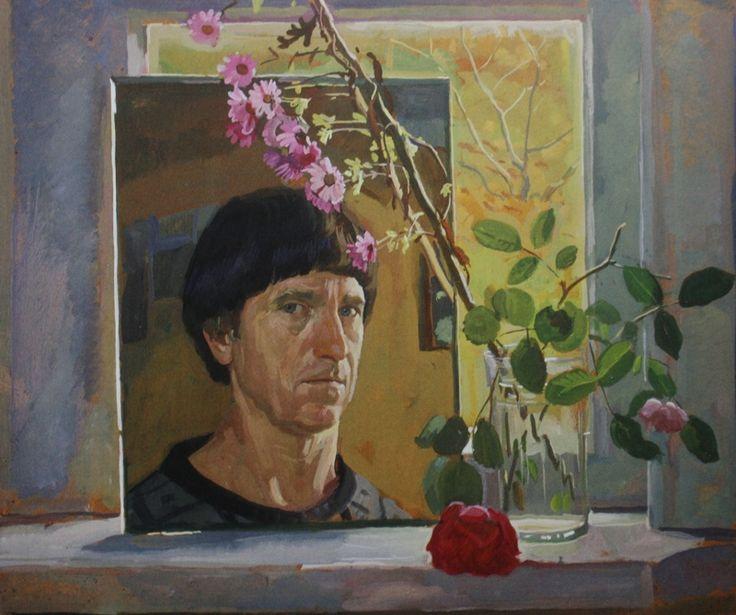 "62. Жилинский Дмитрий ""Автопортрет с цветами"" 1983 Оргалит, темпера 40,5х88,5"