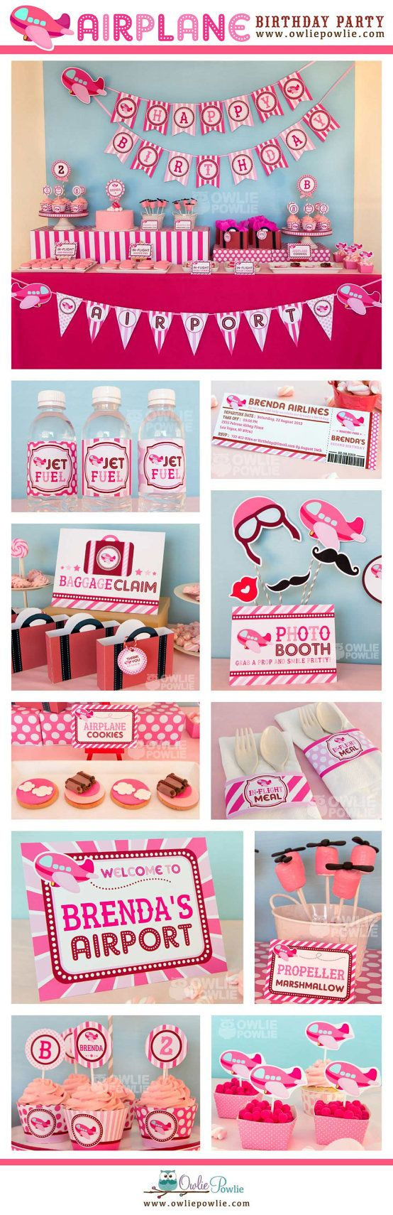 Pink Airplane BIRTHDAY Party Printable Package & Invitation, INSTANT DOWNLOAD, You Edit Yourself with Adobe Reader