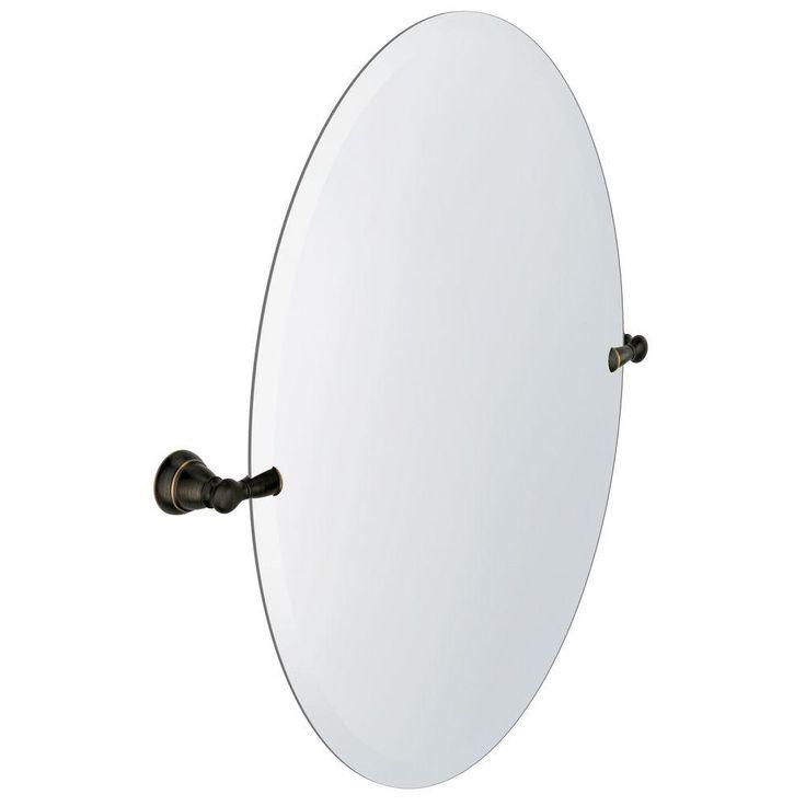 MOEN Banbury 22.95 in. x 26 in. Frameless Pivoting Single Wall Mirror in Mediterranean Bronze-Y2692BRB - The Home Depot