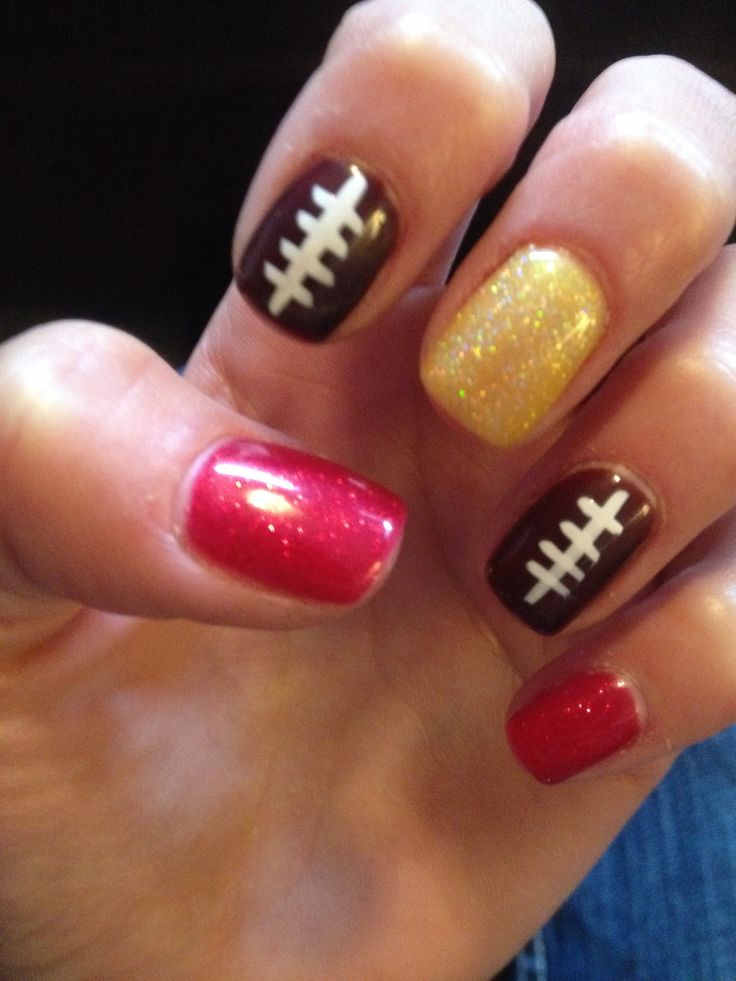 Chiefs Nation NFL Nail art Nails Shellac 2013 Red Gold Football Jocosa Salon