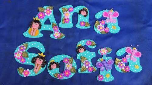 Letras en mdf decoradas con masa flexible infantil en venezuela angel s bubble letters and - Letras decoradas infantiles ...