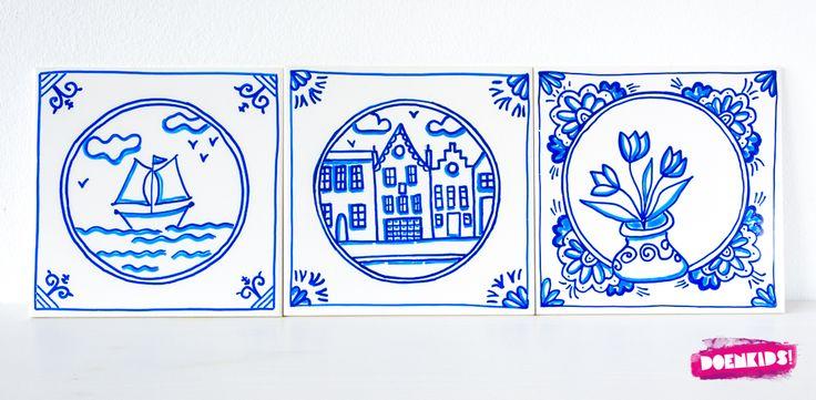"""Maak zelf een traditioneel maar hip Delfts blauw tegeltje! Dit keer een typisch Nederlands creatieveknutselactiviteit die past bij het programma """"Hip Holland Hip"""" dat is samengesteld vo…"""