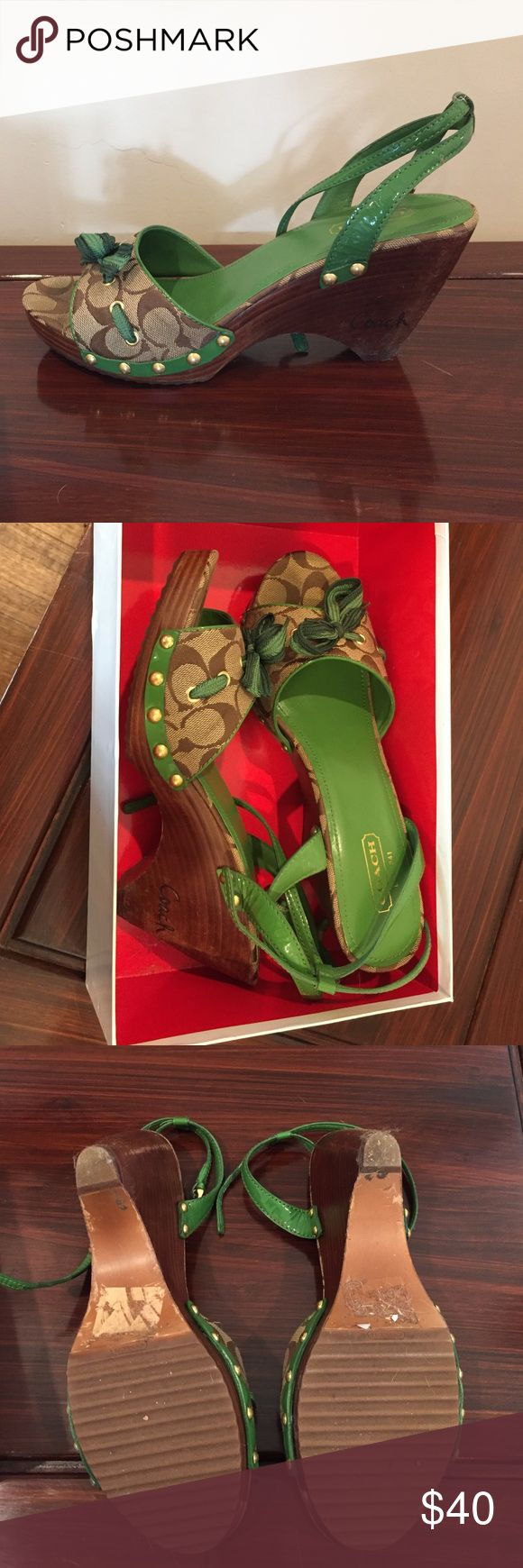 Coach Green wedge Sandals - size 11 Great coach Sandals with green detail and brown coach patterns. Green now on top. Great shoes and very comfortable. I loved them but am not wearing much green any more. Good condition, smoke free home. Size 11 m Coach Shoes Sandals