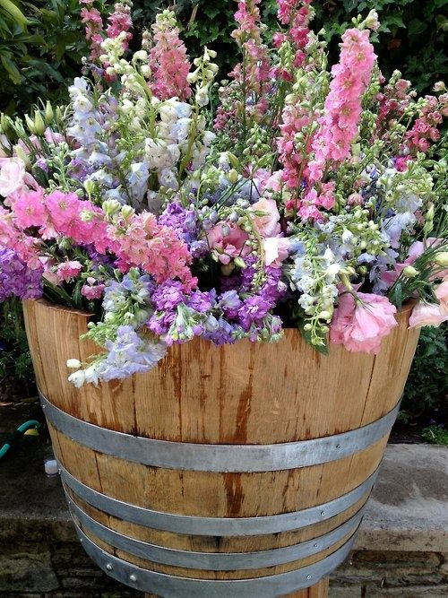 Put this in the front yard filled with snapdragons. barrel planter - love love love snapdragons. HC