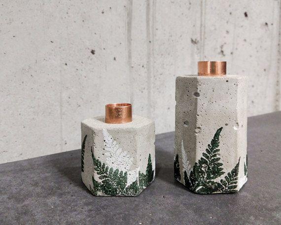 2er-Set: Kerzenhalter aus Beton mit Kupfereinsatz und