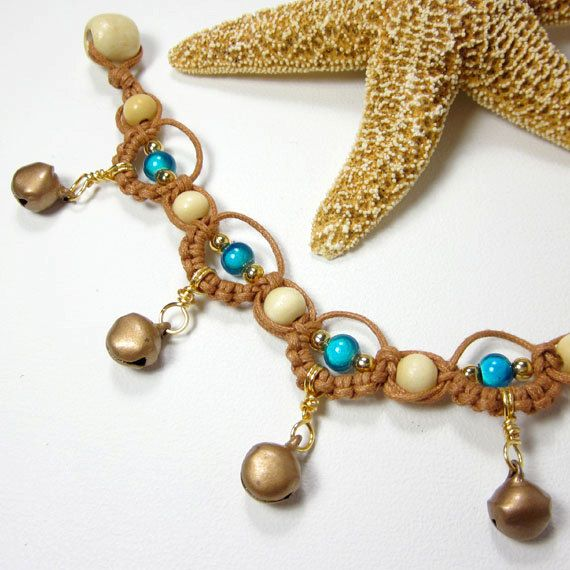 Charm Anklet Bells, Earthy Micro Macrame Jewelry, Orange Turquoise Copper