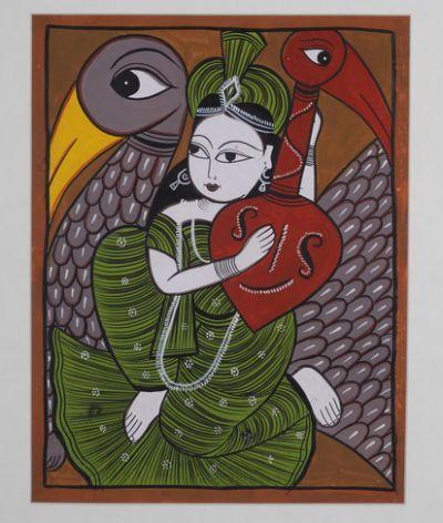 Home Kalighat Folk Painting Saraswati