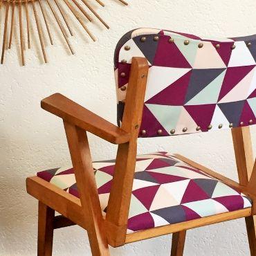 Hyacinthe, le fauteuil bridge vintage, bois et tissus, années 60, rénové