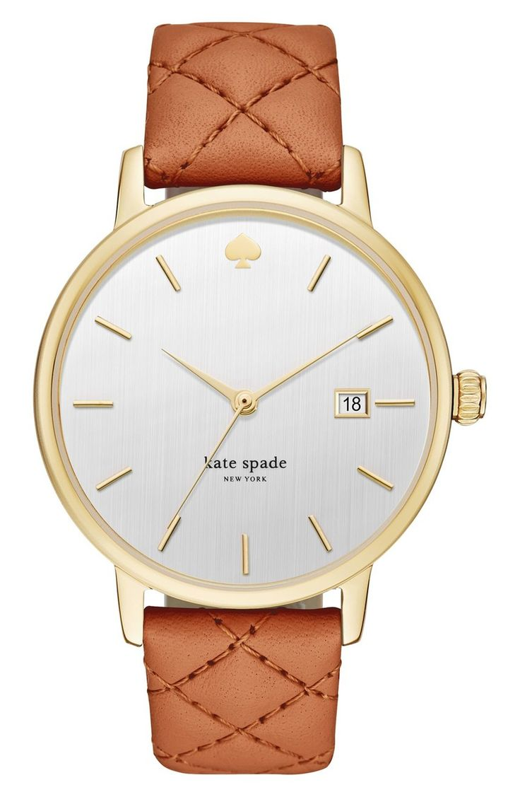 Absolutely in love with this Kate Spade watch that offers a quilted leather strap and gold details.