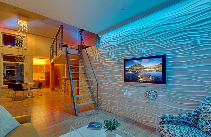Textured wall makes this living room look like it's under the sea.