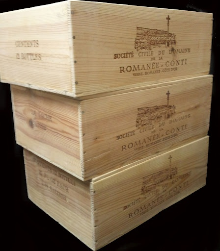 The World's most expensive wine: Domaine Romanee Conti (DRC). This picture is of three different 12 bottle wooden wine crates, from 3 different single vineyards