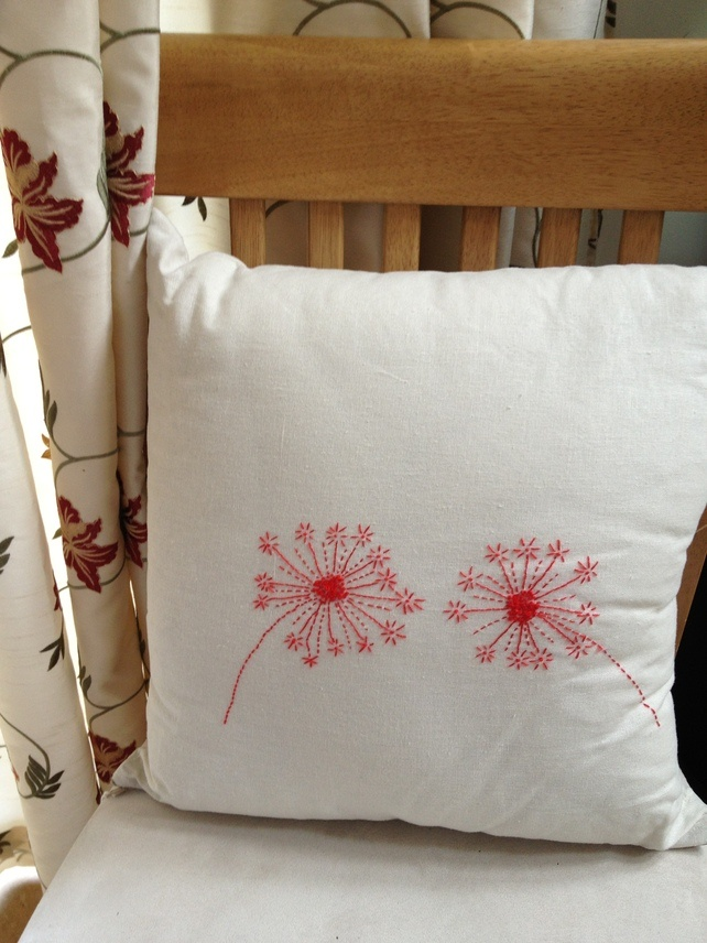 Red Dandelion Linen Cushion £12.00