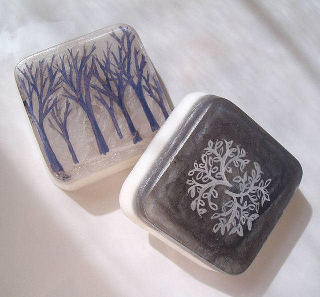 https://flic.kr/p/622xEG | Handpainted Soap Bars - Forest and Branch Motifs | I experimented the other night with soap paints again.  I haven't used them since the Day of the Dead Soapsicles.    These soaps are painted on the inside so the design will last a long time before it gets washed away.