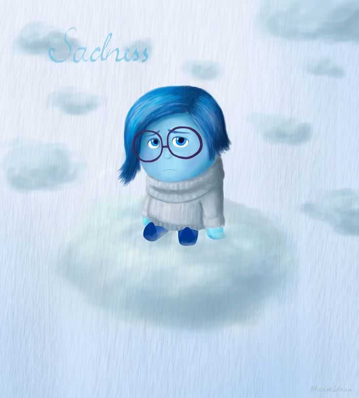 Sadness sitting on a cloud in the rain.