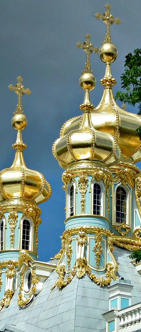 Royal residence of Empress Catherine in Pushkin, Russia.  The chapel lies under these golden domes in one corner of the palace.