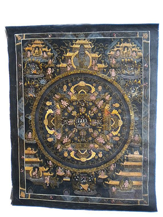 Rare Antique Tibetan Thangka Painting by TRAVELSWITHCAPTAIN, $475.00