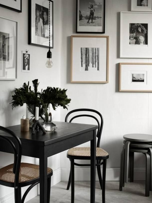 Black and white dining. Classy. Calm.