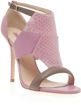 Elie Saab Calfskin and Python Sandals