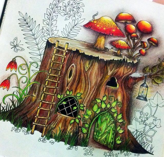 Tree Stump Johanna Basford Adult Coloring Books Doodles Colours Painting Techniques Enchanted Garden Trunk