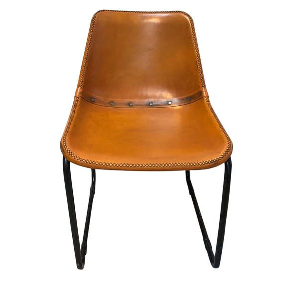 Industrial Vintage Distressed Leather Bucket Chairs - Dining/Restaurant Limited stock