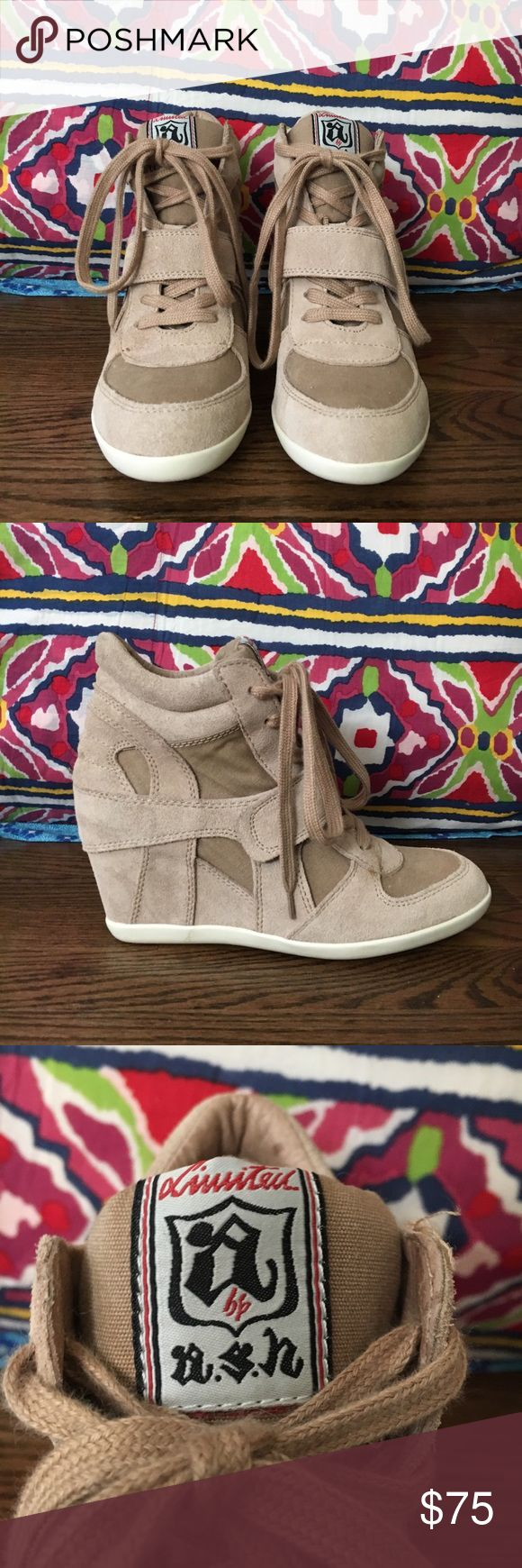 Limited by Ash Bowie Wedge Sneakers Basically brand new wedged sneakers in suede and canvas! Ash Shoes Wedges